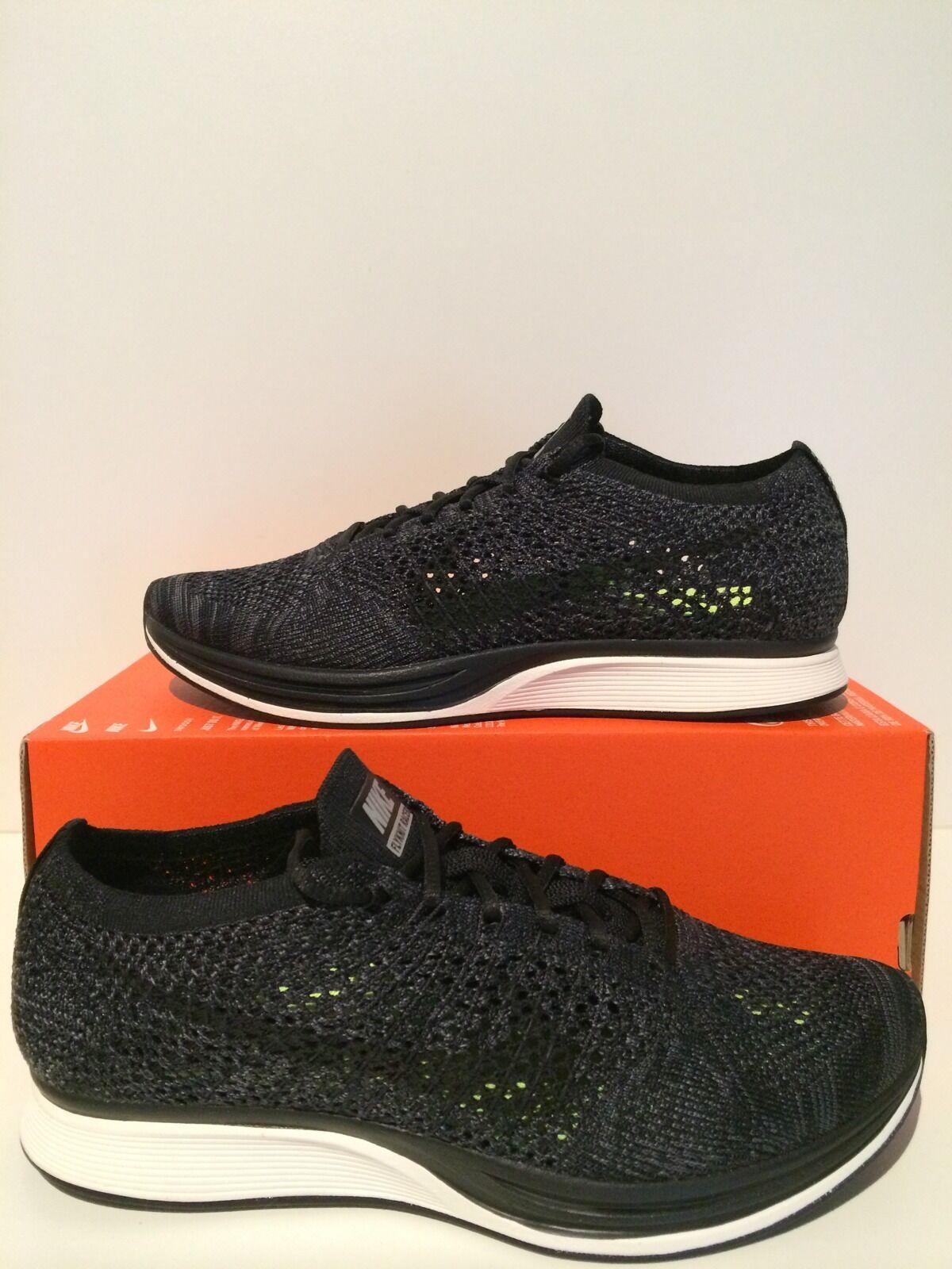 Nike Flyknit Racer Knit By Night Blackout Triple Black Grey Sz 7  526628 005 Seasonal clearance sale