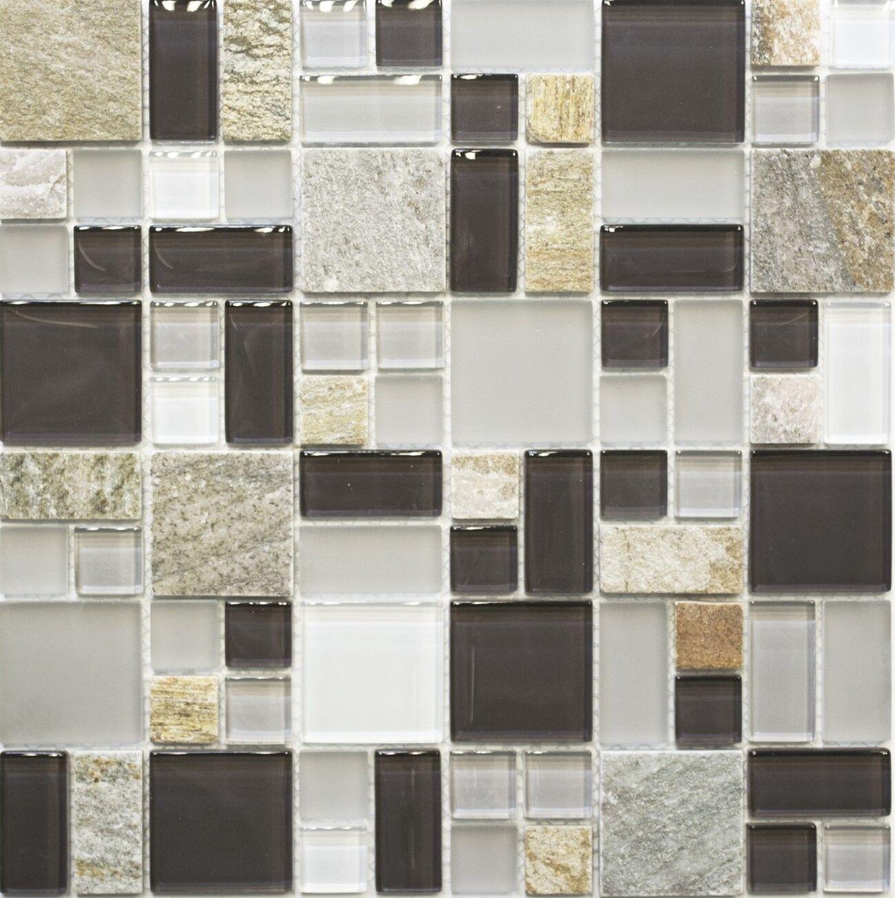 Glas- Natursteinmosaik mix Kombination grau braun Küche Art 88-0206   10 Matten