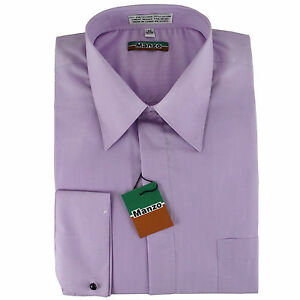 New lilac cover button french cuff men 39 s dress shirt long for French cut shirt sleeve