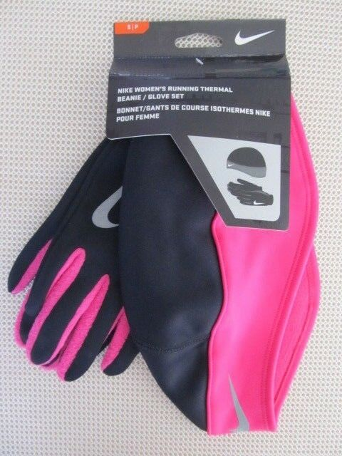 Nike Dri Fit Women s Running Gloves and Beanie Set Black Pink S   P SM  Small   eBay b9870c45207