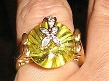 Designer 14K Yellow White Gold Genuine14mm Golden Topaz Diamonds Ring 7.7 gr