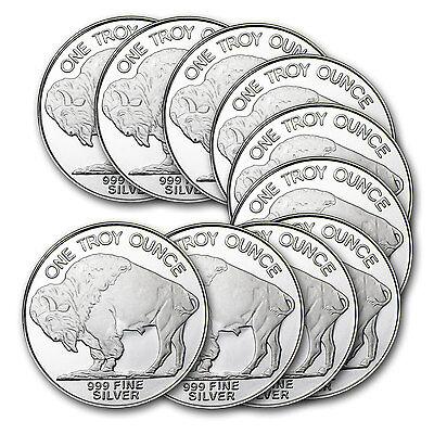 1 oz Silver Buffalo Round .999 Fine (Lot of 10) - SKU #74758