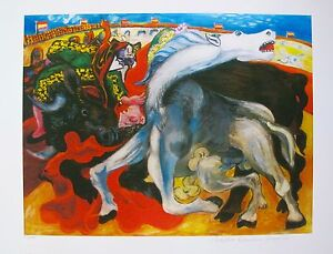 Pablo-Picasso-BULLFIGHT-TOREADOR-Estate-Signed-amp-Stamped-Limited-Edition-Giclee