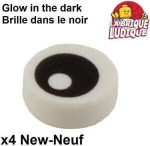 Lego 8x Tile round decorated 1x1 Black Eye Pupil oeil yeux 98138pb007 NEUF