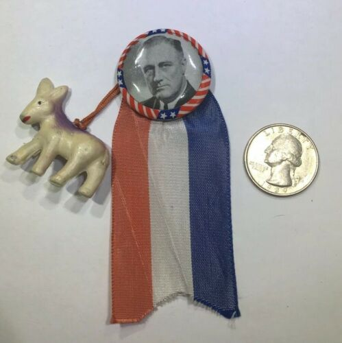 """3"""" President Franklin D Roosevelt FDR Campaign Pin Plastic Donkey and Ribbon"""