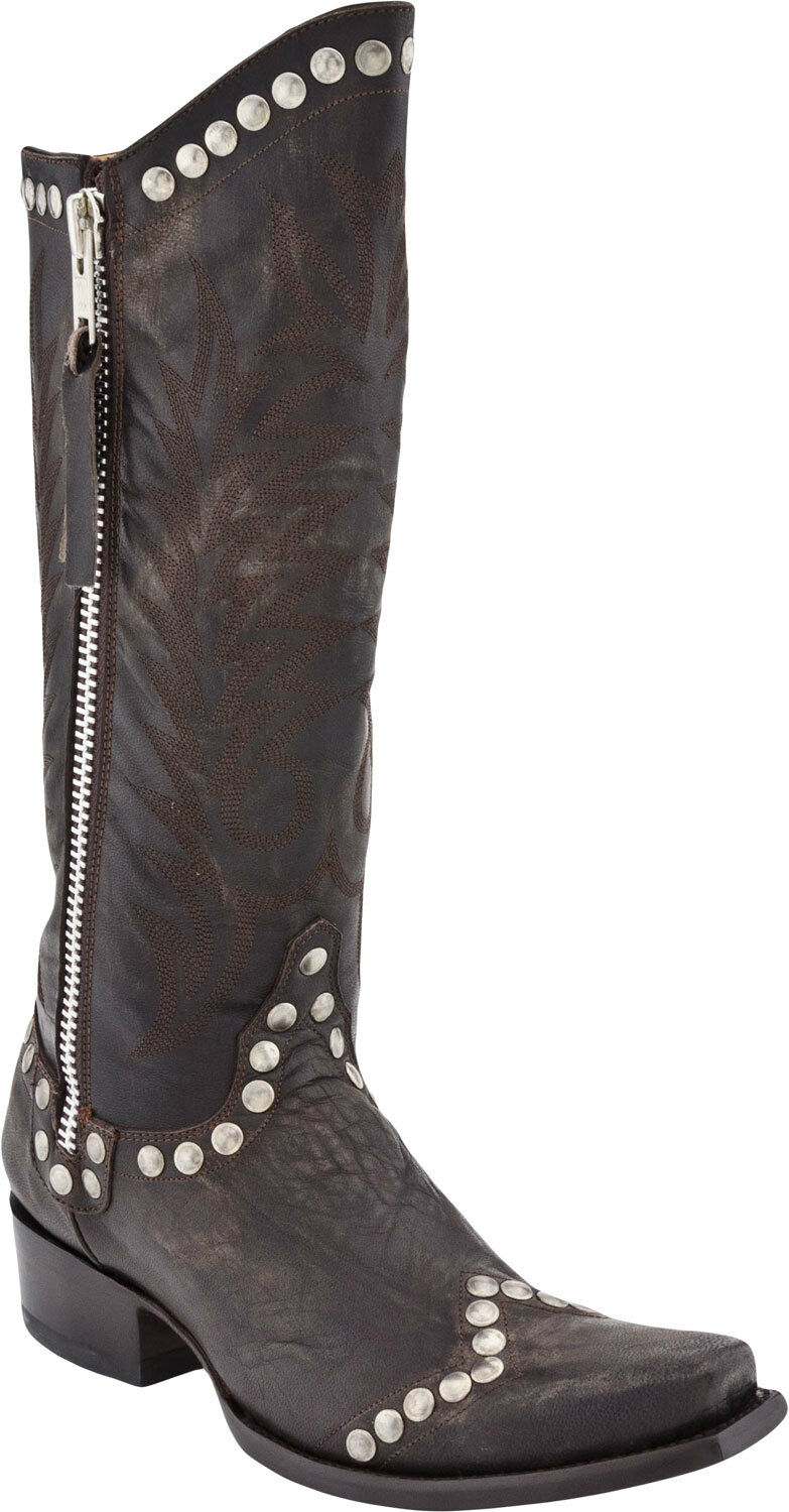 New in Box Old Old Old Gringo Womens Rockrazz Boots Chocolate Brown Studded L598-3   325 3fac43