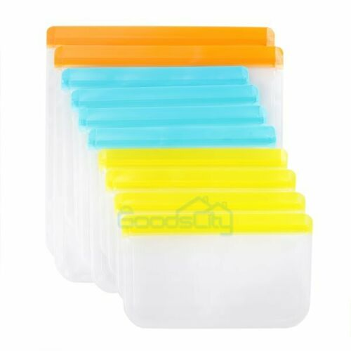 10Pack Reusable Silicone Food Fresh Bag Seal Storage Container Freezer Ziplock