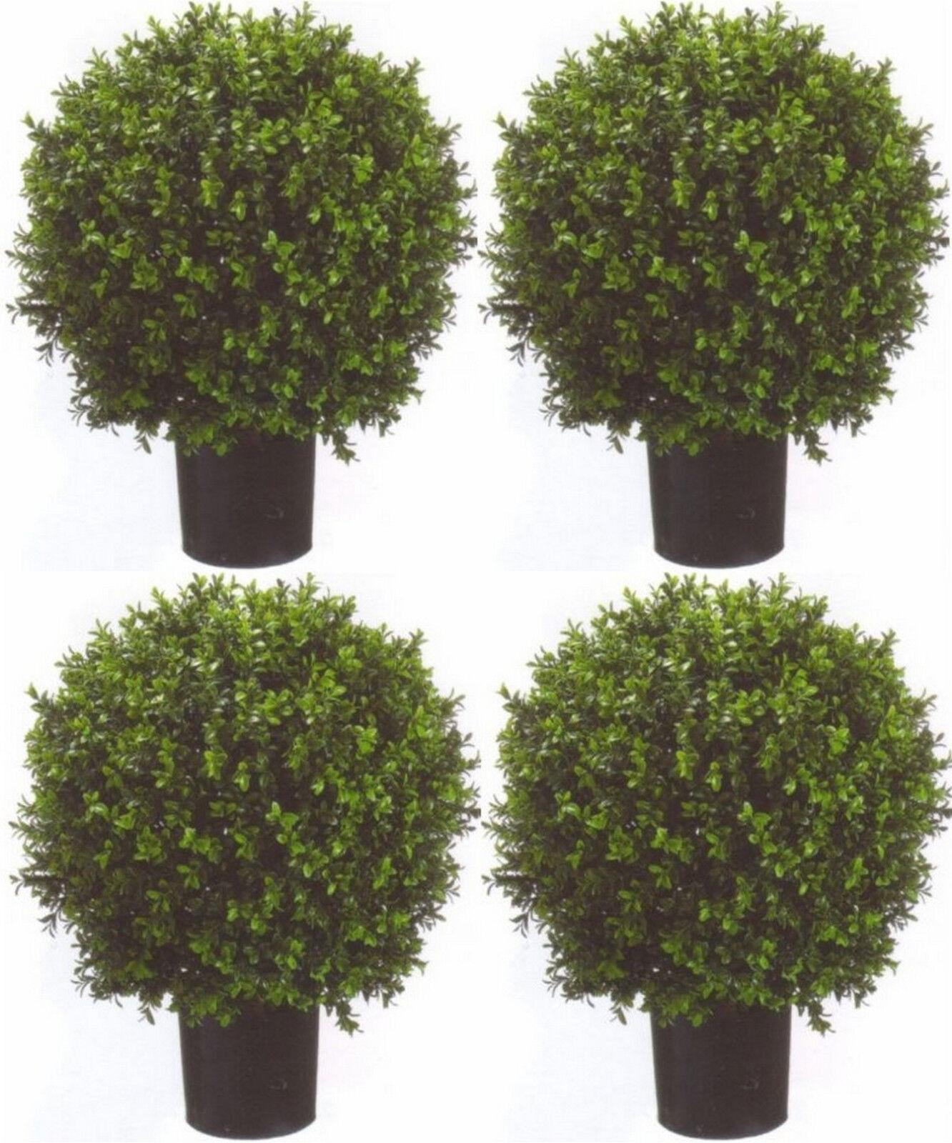 4 ARTIFICIAL OUTDOOR 24  BOXWOOD UV TOPIARY TREE PLANT BUSH BALL PATIO POOL 2'