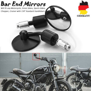 2x-Motorrad-7-8-039-039-Rueckspiegel-Lenkerendenspiegel-Spiegel-Universal-Rund-Schwarz