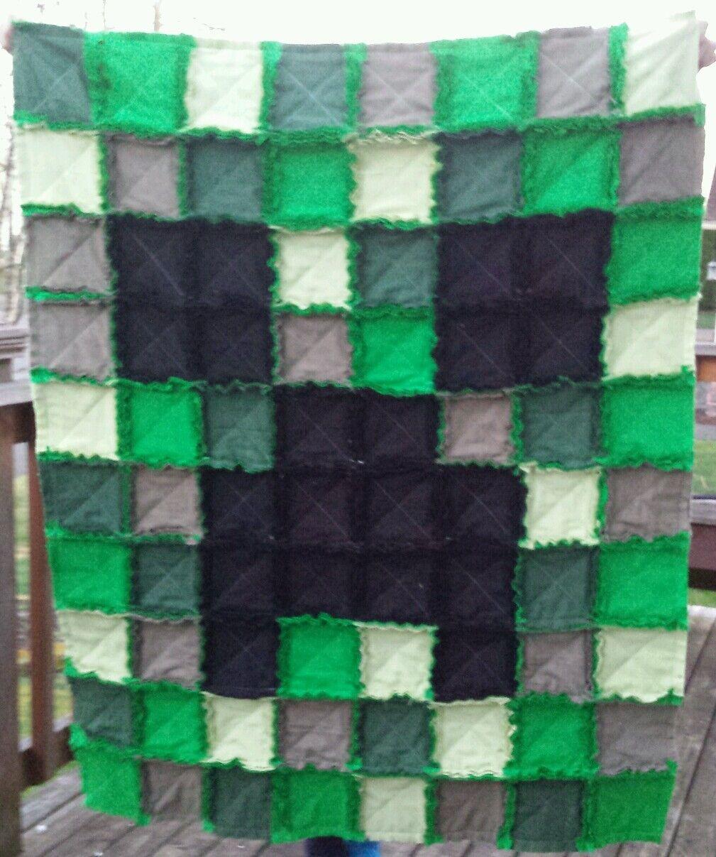 Minecraft Rag Quilt Blanket CREEPER character gift kids birthdayFREE SHIPPING