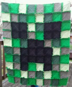 Image is loading Minecraft-Rag-Quilt-Blanket-CREEPER-character-gift-kids-
