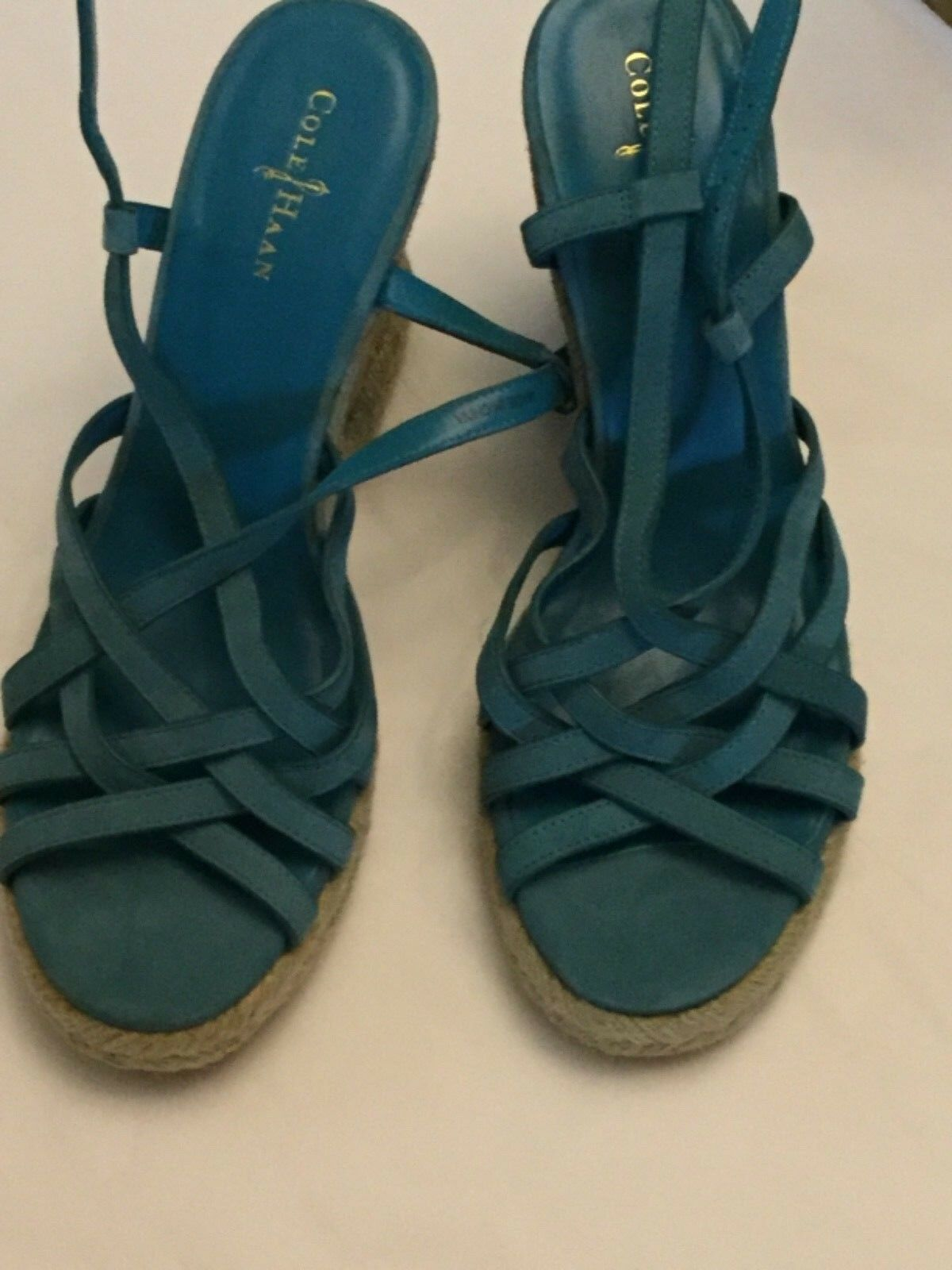 NEW Cole Haan Strappy Leder Wedges 7B w/ Woven Soles - 7B Wedges f4e51f