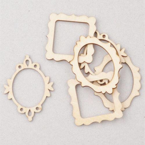10pcs 3 Wooden Frame Craft Shapes Decoration Cutout DIY