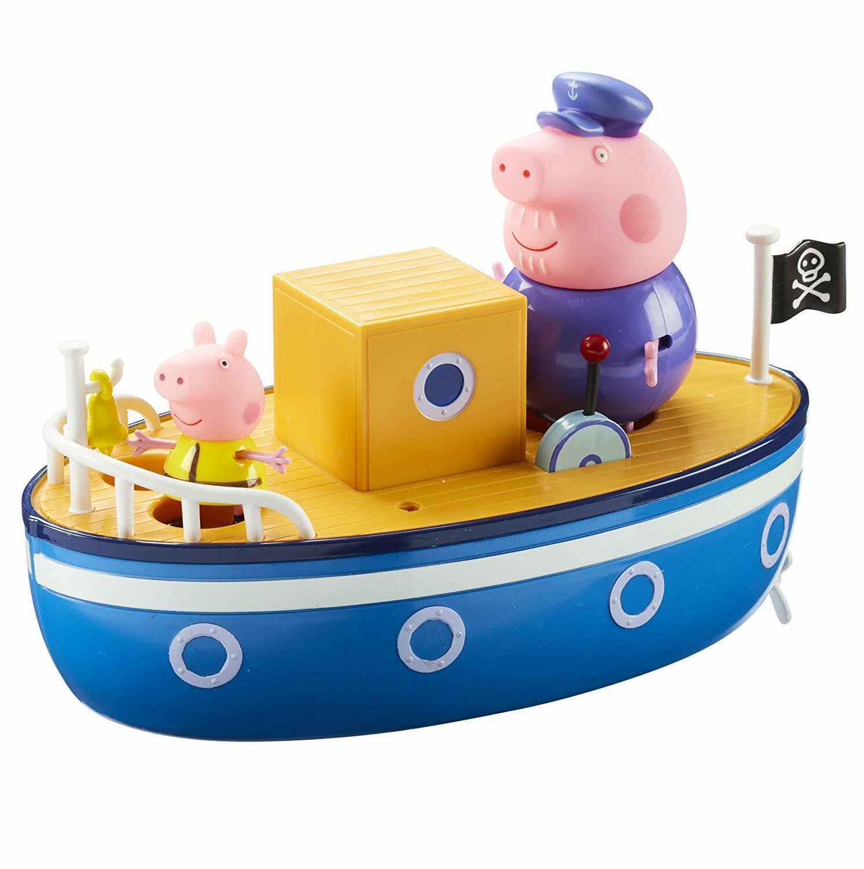 Peppa Pig Bath Toy Grandpa Pig's Boat Kids Fun Play Figures Float Water bluee New
