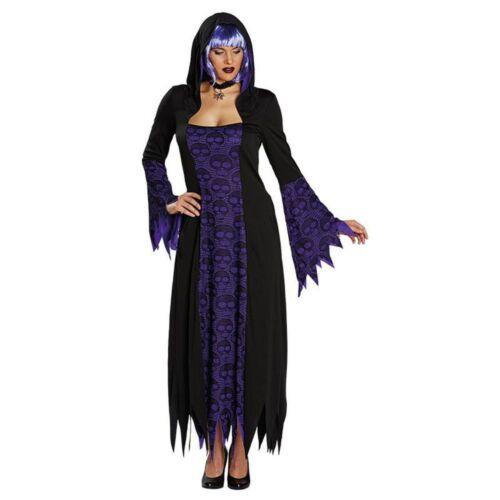 Halloween Damen Kostüm Totenkopf Gewand Hexe Vampirin Rub