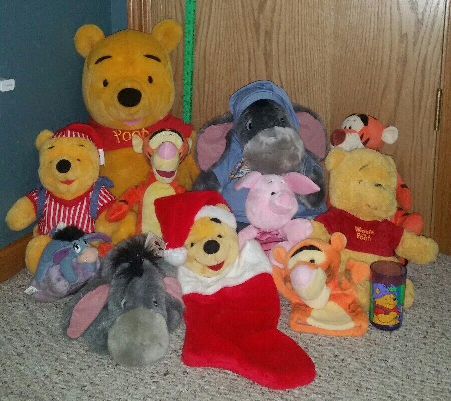 Large Winnie the Pooh and friends, Tigger, Eeyore, Piglet, stuffed plush lot