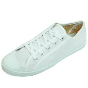 LADIES-WHITE-CANVAS-FLAT-LACE-UP-TRAINER-PLIMSOLL-PUMPS-CASUAL-SHOES-SIZES-3-9
