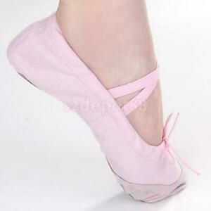 CANVAS-LEATHER-BALLET-DANCE-YOGA-GYMNASTIC-SHOES-SPLIT-SOLE-Children-Adult-Size