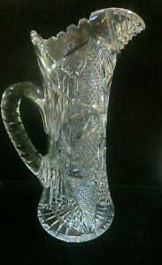 Antique-American-Brilliant-Period-Deep-Cut-Crystal-Pitcher-12-034-H-Mint-Unsigned