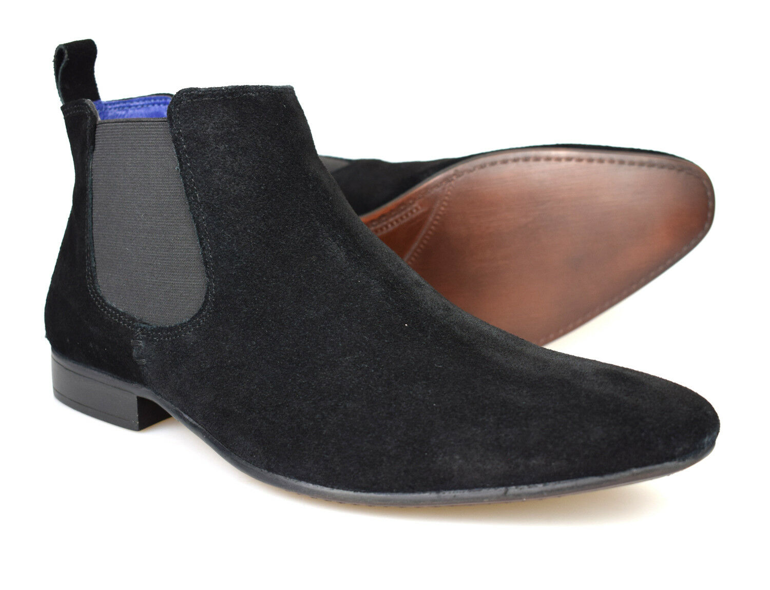 Silver Street Carnaby Black Suede Mens Chelsea Boots   Free UK P&P