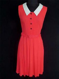 VERY-RARE-VINTAGE-1950-039-S-FRENCH-SLEEVELESS-RED-RAYON-DRESS-SIZE-6