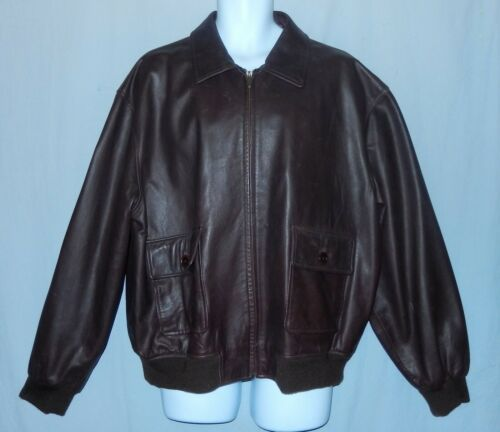 Authentic Coach Brown Leather Bomber Jacket Men's