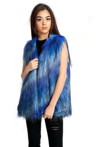 URBAN MIST Faux Fur Shaggy Patch Gilet Luxury Women/'s Warm Winter Outwear
