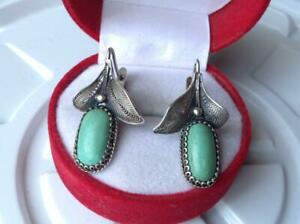 Chic-Vintage-Original-Soviet-USSR-Russian-Earrings-Turquoise-Sterling-Silver-925