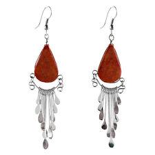 "#4103 Genuine Coral Peruvian Earrings Stone Drop Artisan Alpaca Silver 2"" Dangle"