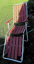 Vintage Redwood Slat Aluminum Lawn Chair Chaise Lounge Folding Patio Furniture