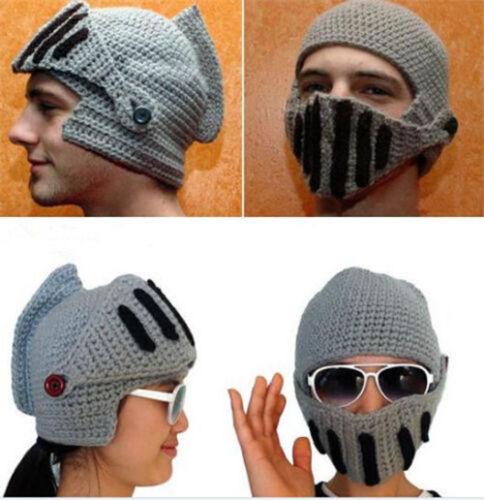 Knitted Winter Warm Ski Beanie Wool Roman Knight Helmet Cap Unisex Adults Mask