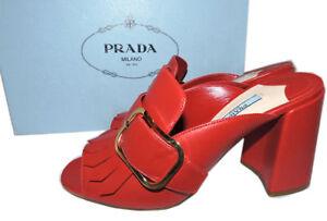 d75651eb051 Details about PRADA Kiltie Fringe Buckle Slide Mules Block Heel Shoe RED  Sandals Slingback 38