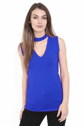 LADIES JERSEY STYLE TIGHT SLEEVELESS HIGH CHOKER NECK TOP KEYHOLE TOP VEST 8  20