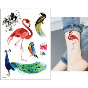 Temporaeres-Tattoo-Flamingo-Pfau-Papagei-Design-Klebetattoo