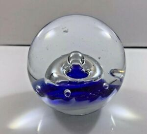 SDS-SEAPOOT-Art-Glass-Paperweight-Blue-With-Clear-Swirls-Controlled-Bubbles-3