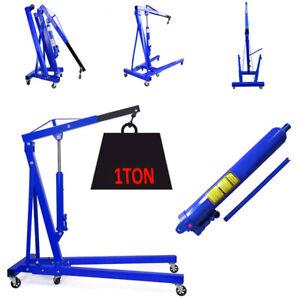 Details about 2200lb 1000kg Pro Engine Crane Hoist Trolley Folding Carport  Tool Portable Blue
