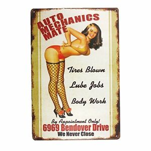 Automobile-Car-Mechanics-Mate-Retro-Metal-Tin-Decorative-Garage-Sign-8-034-x-12-034