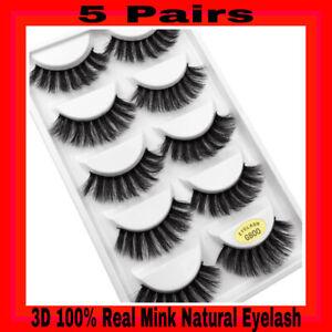 💙NEW 5 Pair 3D Mink False Eyelashes Wispy Cross Long Thick Soft Fake Eye Lashes