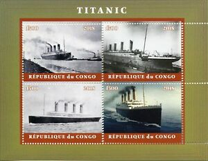 Congo 2018 MNH Titanic 4v M/S I Ships Boats Nautical Stamps