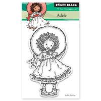 Penny Black Adele Mini Clear Stamp Child Girl Dress Up Hat Smile Fancy Curls