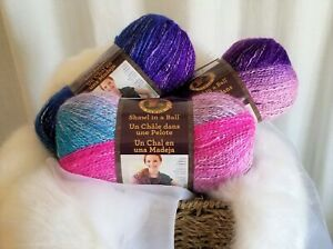Lion-Brand-SHAWL-IN-A-BALL-Yarn-309-MYSTICAL-MIRAGE-Lot-of-3-New-Skeins
