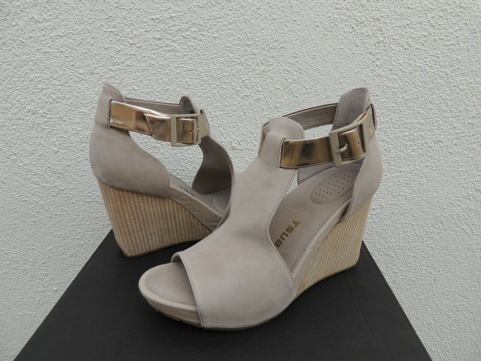 TSUBO NANCIE WET WET WET CEMENT LEATHER ANKLE STRAP WEDGE HEELS, US 10  EUR 41 NEW 49459c