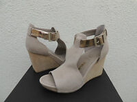 Tsubo Nancie Wet Cement Leather Ankle Strap Wedge Heels, Us 9.5/ Eur 40.5
