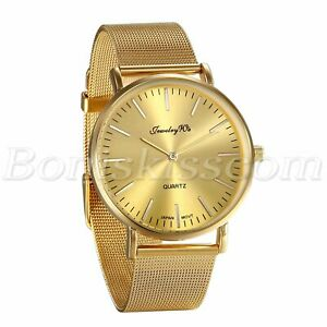 Men-039-s-Luxury-Gold-Tone-Stainless-Steel-Mesh-Band-Analog-Quartz-Wrist-Watch-Gift