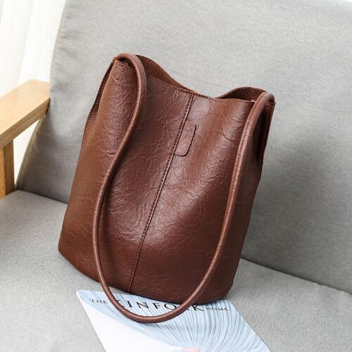 Shoulder Bag Tote Womens Bags Handbag Small Bucket Retro PU Leather Crossbody