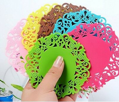 5Pcs Silicone Mixed Lace Nonslip Cup Mat Pad Coaster Heat Pad Holder Glass SX4
