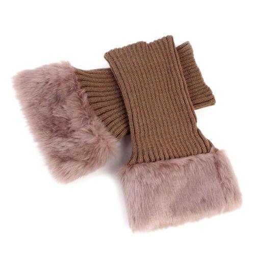 Women Winter Knitted Boot Cuffs Fur Knit Crochet Toppers Trim Socks Leg Warmer