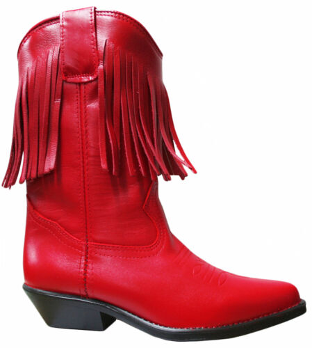 Ladies Red Genuine Leather Western Cowboy Boots 7500 with Tassels Fringe Tassle
