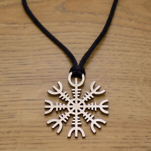 Solid-Stainless-Steel-Aegishjalmur-The-Helm-of-Awe-Pendant-amp-Black-Cord-Necklace