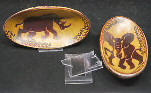 AFRICAN HAND CARVED & PAINTED WOODEN OVAL BOWLS w STANDS, RHINO, ELEPHANT